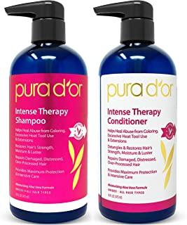 PURA D'OR Intense Therapy Shampoo & Conditioner Haircare Set Repairs Damaged, Distressed, Over-Processed Hair with Natural Ingredients, Sulfate Free, All Hair Types, Men & Women (Packaging May Vary)