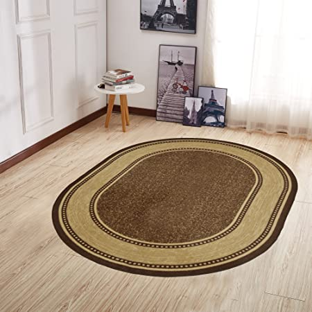 Ottomanson Home Collection Modern Area Rug 5 X 6 6 Oval Chocolate Brown Furniture Decor