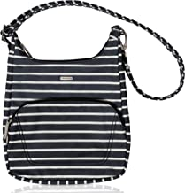 (Black W/White Stripe - Exclusive Color) - Travelon Anti-Theft Classic Essential Messenger Bag (One Size, Black w/White Stripe - Exclusive Colour)