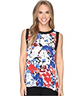 Vince Camuto - Sleeveless Nautical Blooms Blouse with Solid Contrast