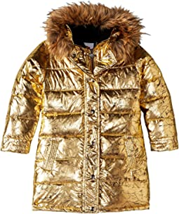 Metallic Long Down Coat with Faux Fur Hood (Toddler/Little Kids/Big Kids)