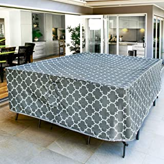 Harlie & Stone Outdoor Table Cover Rectangle - Heavy Duty, Sun and Fade Resistant, Stylish 600D Patio Table Covers Waterpr...