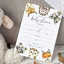 Bliss Collections 25 Baby Shower Invitations with Envelopes Woodland Animals, Forest Creatures, Fox, Owl, Racoon, Wolf, He...