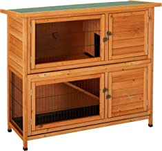"Merax Rabbit Hutch,48"" Bunny House Cage Indoor Outdoor 2-Story Small Animal Habitat Weatherproof with Removable Tray & Open Roof"