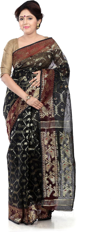 B3Fashion Handloom Traditional Black Dhakai Jamdani silk saree