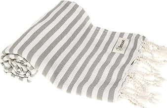 Bersuse 100% Cotton Malibu Turkish Towel - 37X70 Inches, Silver Gray
