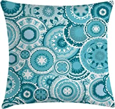 Ambesonne Aqua Throw Pillow Cushion Cover, Hippie Floral Leaves Mandala Rounds Traditional Elements Print, Decorative Square Accent Pillow Case, 16