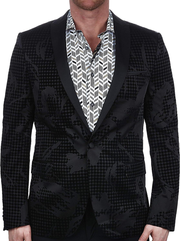 Maceoo Mens Designer Blazer - Night Out Stylish Sportswear - Tesla Flock Scattered Black - Tailored Fit