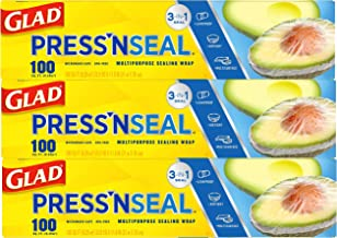 Glad Press'n Seal Plastic Food Wrap Square Foot Roll -100 Sq. Ft (Pack of 3)
