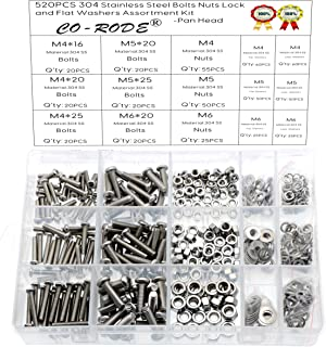 520PCS Metric Stainless Steel Pan Head Machine Bolts Nuts with Lock and Flat Washers Kit