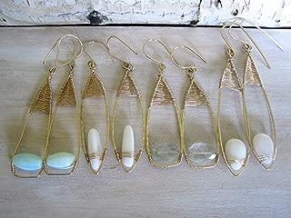 Long teardrop woven earrings in 14k gold fill with gemstones