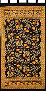 India Arts French Floral Tab Top Curtain Drape Panel Cotton 44