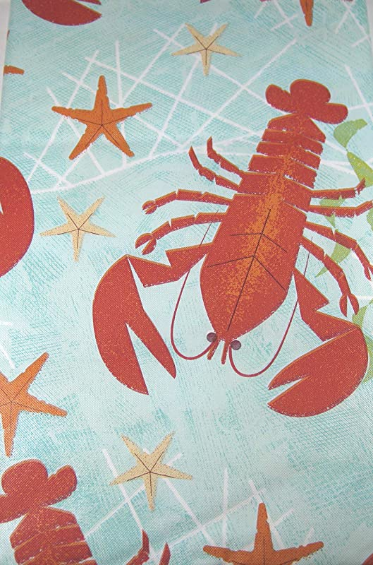 Summer Fun Lobster Fest Easy Care Vinyl Tablecloths Assorted Sizes Oblong Round Sqare 52 X 90 Oblong