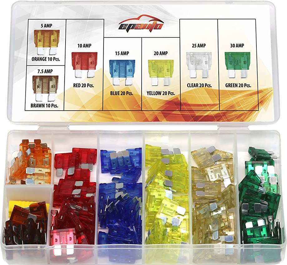 120 Pieces - EPAuto Assorted Car Truck Standard Blade Fuse Set (5/7.5/10 / 15/20 / 25/30 AMP)