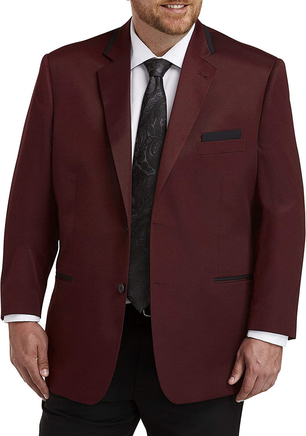 DXL Synrgy Big and Tall Neat Dinner Jacket, Burgundy