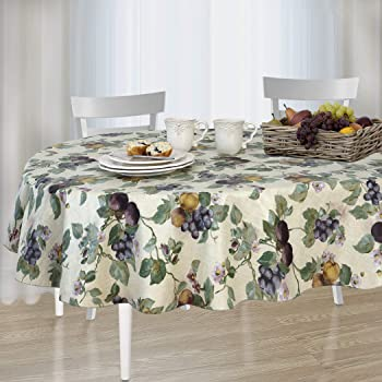 Amazon Com Newbridge Avalon Fruit Pattern Indoor Outdoor Flannel Backed Vinyl Tablecloth 60 X 84 Oval Home Kitchen