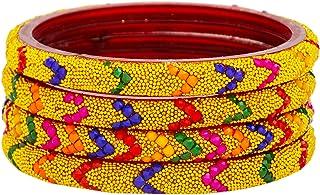 مجموعة اساور زجاجية هندية للنساء، اساور حلقية تقليدية للحفلات بتصميم عصري وانيق من جيه ديز كوليكشن - 4 اساور