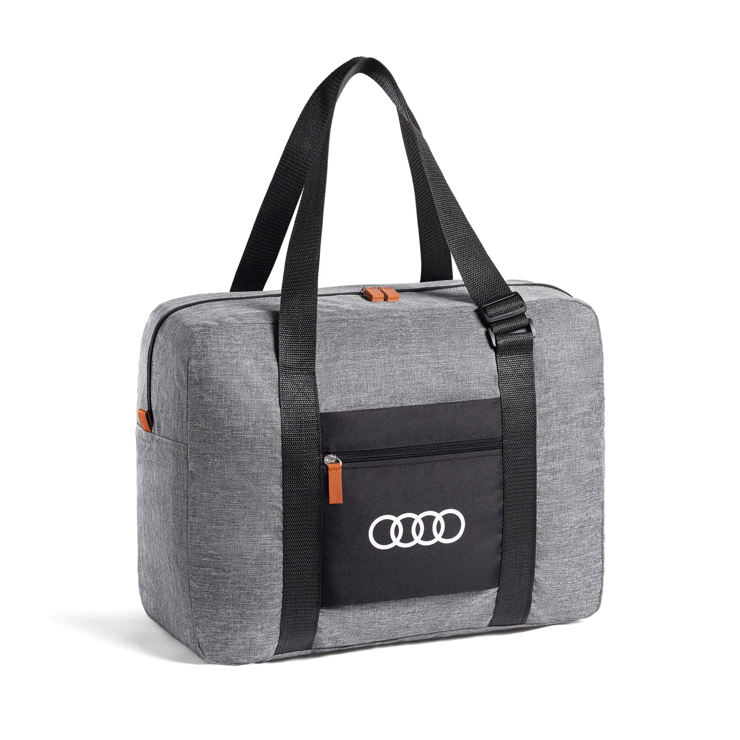 AUDI 3152000100 Foldable Carry Bag Rings Logo Handbag Light Grey