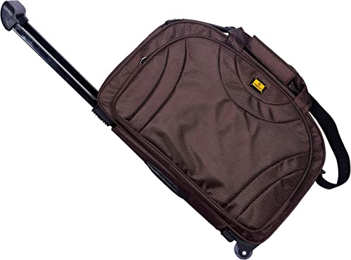 Wheels Trolley Travel 57 Cms Travel Collection Luggage Soft Sided Polyester Trolley Duffel Wheel Bag Brown 57 cm Set 0f 1 pcs Trolley Bags for Travel