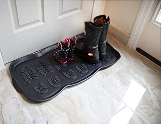 "Ottomanson RDM9800-16X32 Rubber Boot Tray, 16"" x 32"", Black"