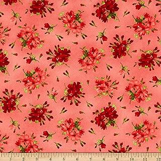 Maywood Studio Chloe Geranium Sprigs Soft Fabric, Red, Fabric By The Yard