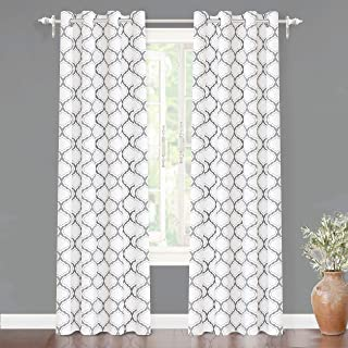 DriftAway Geometric Trellis Room Darkening Thermal Insulated Grommet Unlined Window Curtain Drapes Pair for Living Room Bedroom Set of 2 Panels Each 52 by 84 Inch Gray