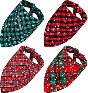 Frienda 4 Pieces Christmas Dog Bandana Pet Plaid Scarf with Snowflake for Dogs Cats Pets Animals