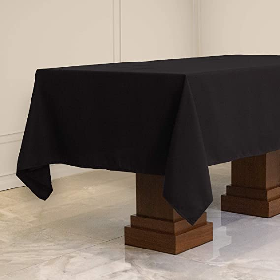 Kadut Rectangle Tablecloth (60 x 102 Inch) Black Rectangular Table Cloth for 6 Foot Table | Heavy Duty Fabric | Stain Proof Table Cloth for Parties