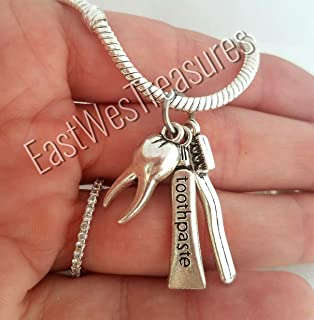 Dental Assistant Hygienist DDS Dentist Tooth charms -For Charm bracelet and necklaces
