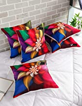 b7 CREATIONS Floral Digital Printed Jute Cushion Cover (Red,16 x 16 inch) - Set of 5