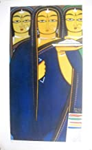 Three Pujarins : by Jamini Roy/ Indian Canvas art reprint Poster on paper (Unframed : Size 22