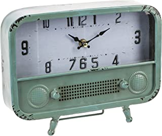 Retro Radio Design Vintage Distressed Pale Green 10 x 7.75 Iron Desk Clock