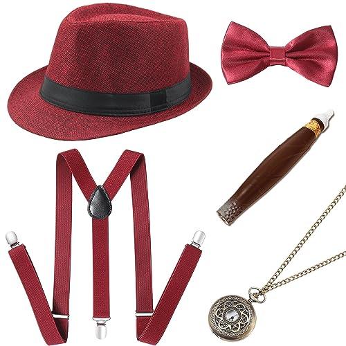 79ebd3591ce Coucoland 1920s Gatsby Costume Men Accesories Set (Panama Hat Elastic  Y-Back Suspender Bow