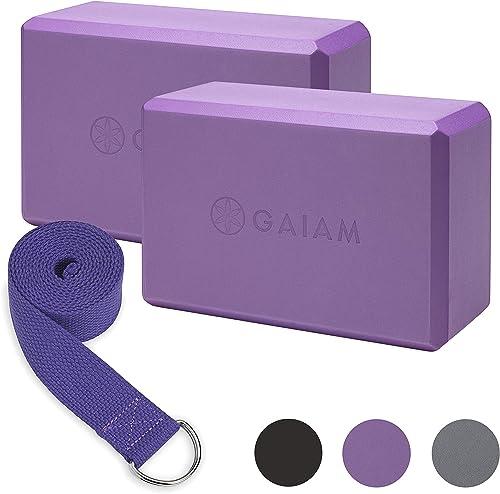 "Gaiam Essentials Yoga Block 2 Pack & Yoga Strap Set, Deep Purple, 9""W x 6""H x 4""D"