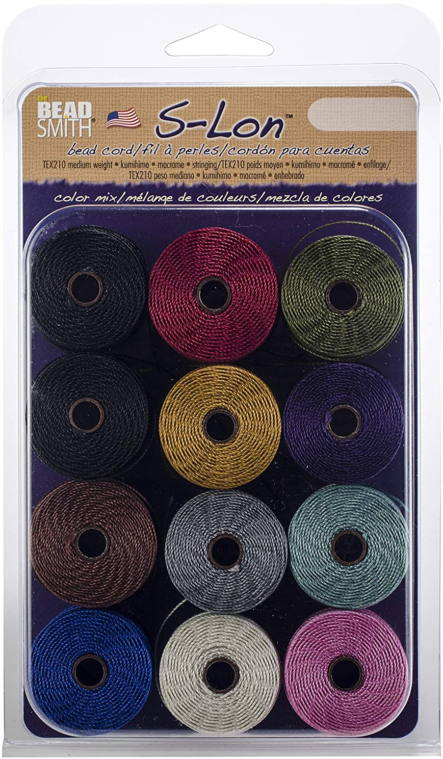 Beadsmith S-Lon Bead Cord for Jewelry, Macrame and Kumihimo, SLBC-MIXAG Adrienne Gaskell Mix
