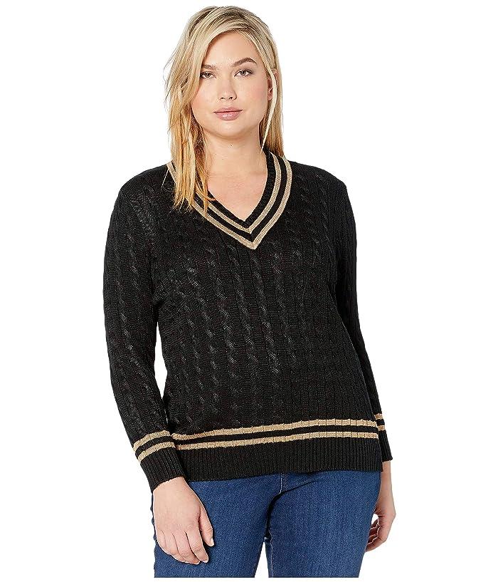 60s 70s Style Sweaters, Cardigans & Jumpers LAUREN Ralph Lauren Plus Size Metallic Cricket Sweater Polo BlackGold Womens Clothing $121.50 AT vintagedancer.com
