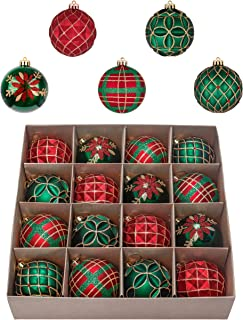 Valery Madelyn 16ct 80mm Country Road Red Green and Gold Shatterproof Christmas Ball Ornaments Decoration,Themed with Tree Skirt(Not Included)