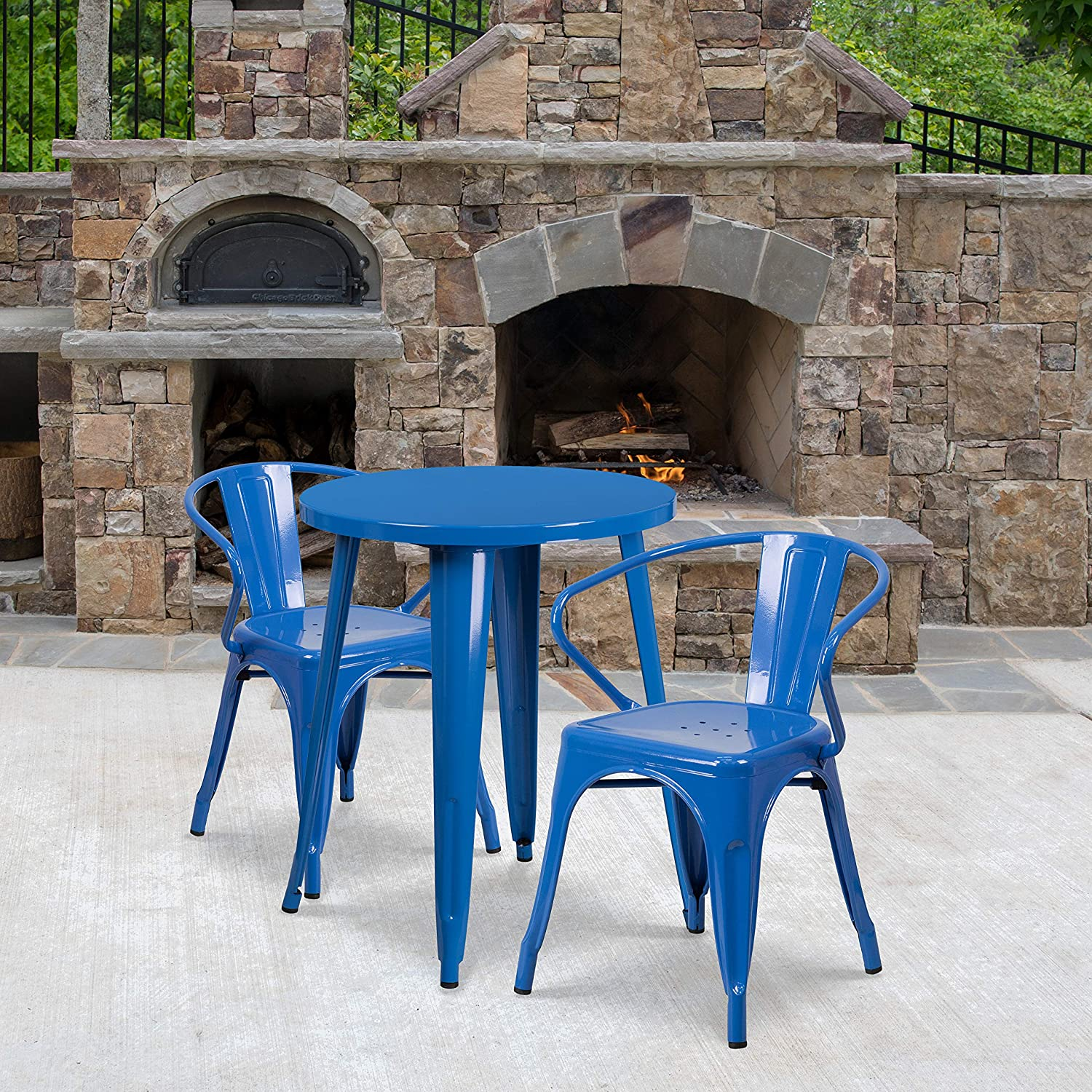 EMMA OLIVER Commercial Grade 24 Round Blue Metal Indoor-Outdoor Table Set with 2 Arm Chairs