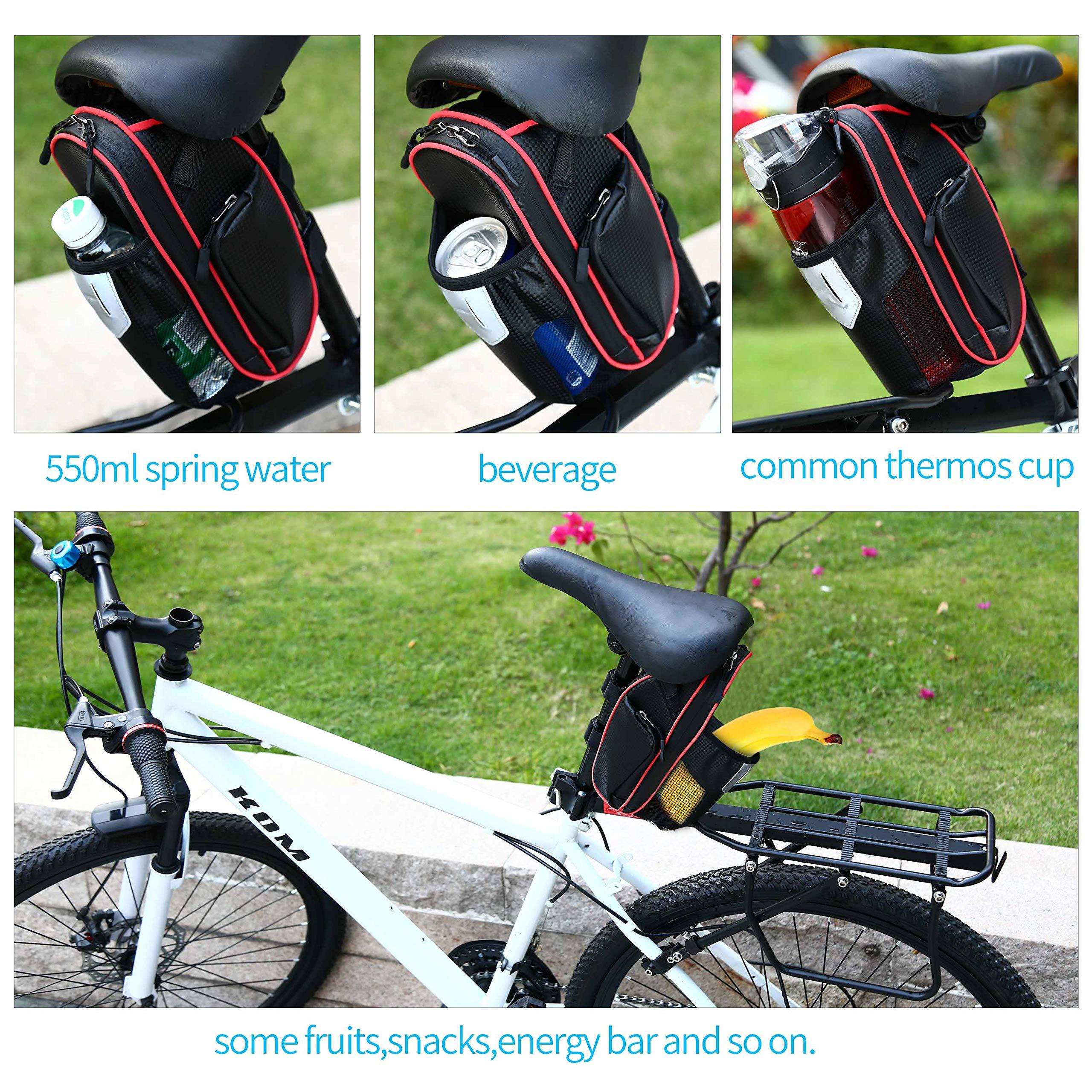 Selighting Bolsa de Sillin Bicicleta, Bolsa Bicicleta Montaña Alforja Bolsa Trasera Bicicleta Impermeable con Compartimento Botella (Rojo): Amazon.es: Deportes y aire libre