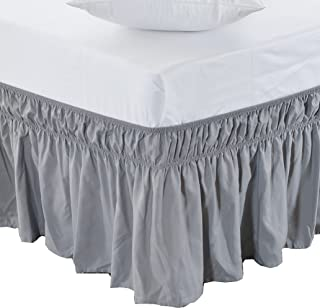 MEILA Bed Skirt Three Fabric Sides Elastic Wrap Around Dust Ruffled Solid Bed Skirts Easy On/Easy Off 16 Inch Tailored Drop, Grey, Queen/King