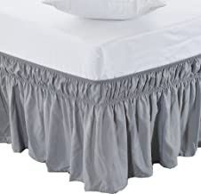 MEILA Three Fabric Sides Wrap Around Elastic Solid Bed Skirt, Easy On/Easy Off Dust Ruffled Bed Skirts 16 Inch Tailored Drop (Grey Queen/King)