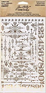 Tim Holtz Idea-ology Remnant Rubs, Gilded Accents 2 Sheet/Pack, 4.75 x 7.75 Inches Per Sheet, Silver and Gold Foil Rub-Ons (TH93287)