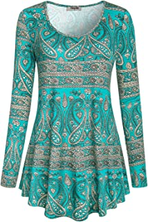 Women's Scoop Neck Long Sleeve Casual Printed Flared Basic Tunic Tops
