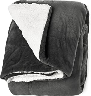 "Life Comfort Microfiber Plush Polyester 60""x70"" Large All Season Blanket for Bed or Couch Ultimate Sherpa Throw, Gray"