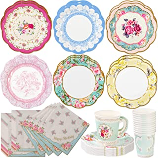 Talking Tables Truly Scrumptious Tea Party Bundle   Vintage Floral Paper Tea Cups and Saucer Sets 12 Count   Happy Birthday Floral Paper Napkins 20 Pack   Vintage Floral Small Paper Plates 12 Count