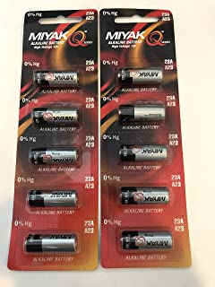 A23 Battery 12V Alkaline 55 mAh - 10-Pcs Pack - for Garage Doors Opener, Ceiling Fans & Wireless Doorbells Remotes Type: 12 Volt MN21 23GA 21/23 GP23AE A23G A23S Genuine MIYAK