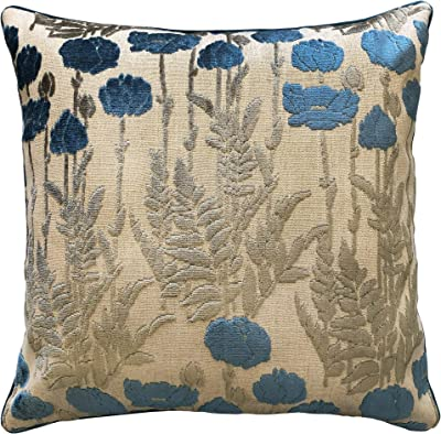 Amazon Com Rodeo Home Camelia Decorative Floral Cut Velvet Square Throw Pillow With 100 Feather Fill Insert For Sofa Couch Bed 23 X23 Ocean 23x23 Home Kitchen