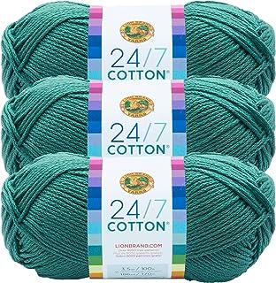 (3 Pack) Lion Brand Yarn 761-178 24-7 Cotton Yarn, Jade