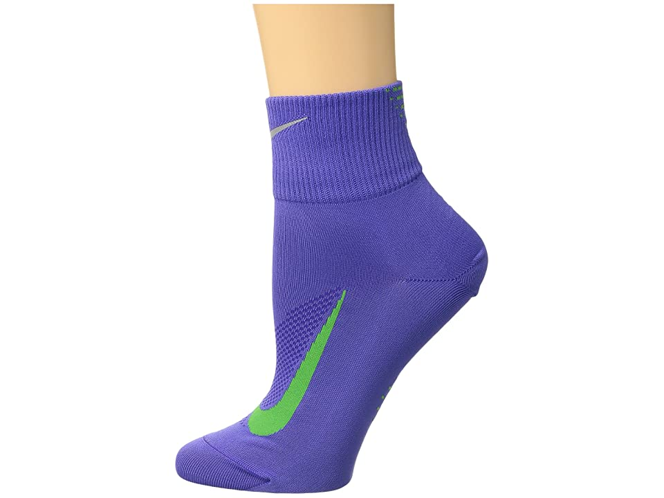 Nike Elite Run Lightweight 2.0 Quarter (Persian Violet/Light Green Spark) Quarter Length Socks Shoes