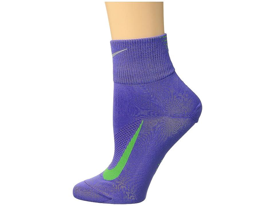 Nike Elite Run Lightweight 2.0 Quarter (Persian Violet/Light Green Spark) Quarter Length Socks Shoes